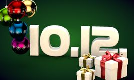 10 12 date calendar gift box christmas tree balls 3d illustration Royalty Free Stock Photos
