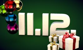 11 12 date calendar gift box christmas tree balls 3d illustration. Rendering stock illustration