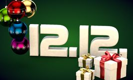 12 12 date calendar gift box christmas tree balls 3d illustration. Rendering royalty free illustration