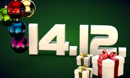 14 12 date calendar gift box christmas tree balls 3d illustration. Rendering stock illustration