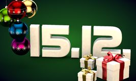 15 12 date calendar gift box christmas tree balls 3d illustration Stock Photography