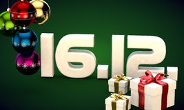 16 12 date calendar gift box christmas tree balls 3d illustration Royalty Free Stock Photos