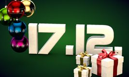 17 12 date calendar gift box christmas tree balls 3d illustration Stock Photo