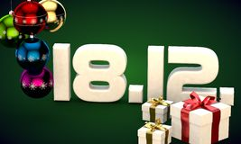 18 12 date calendar gift box christmas tree balls 3d illustration Stock Photo
