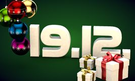 19 12 date calendar gift box christmas tree balls 3d illustration. Rendering royalty free illustration