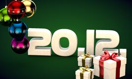 20 12 date calendar gift box christmas tree balls 3d illustration. Rendering Royalty Free Stock Photography