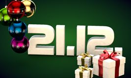 21 12 date calendar gift box christmas tree balls 3d illustration. Rendering royalty free illustration