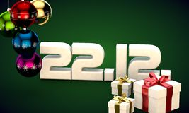 22 12 date calendar gift box christmas tree balls 3d illustration. Rendering vector illustration
