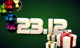 23 12 date calendar gift box christmas tree balls 3d illustration. Rendering stock illustration