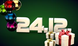 24 12 date calendar gift box christmas tree balls 3d illustration. Rendering stock illustration