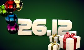 26 12 date calendar gift box christmas tree balls 3d illustration. Rendering vector illustration