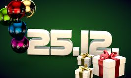 25 12 date calendar gift box christmas tree balls 3d illustration. Rendering vector illustration