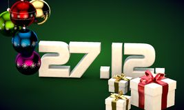 27 12 date calendar gift box christmas tree balls 3d illustration Stock Photos