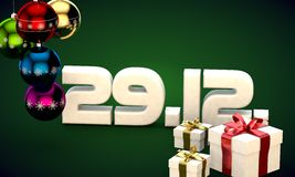 29 12 date calendar gift box christmas tree balls 3d illustration. Rendering stock illustration