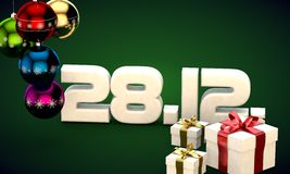 28 12 date calendar gift box christmas tree balls 3d illustration. Rendering stock illustration
