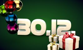 30 12 date calendar gift box christmas tree balls 3d illustration Stock Photography