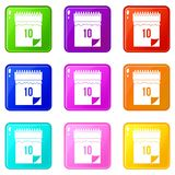 10 date calendar icons 9 set. 10 date calendar icons of 9 color set isolated vector illustration Royalty Free Stock Photography