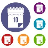10 date calendar icons set. In flat circle red, blue and green color for web Royalty Free Stock Photo