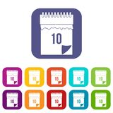 10 date calendar icons set flat Royalty Free Stock Photo