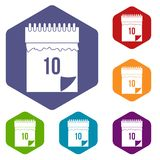 10 date calendar icons set hexagon. Isolated vector illustration Stock Photo