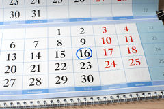 Date on calendar is marked with blue circle Royalty Free Stock Photography