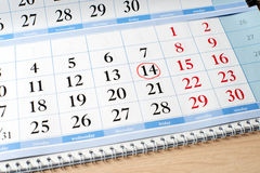 Date on calendar is marked with red circle Stock Photography