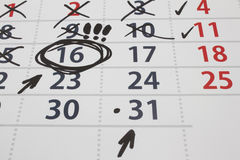 Date on a calendar Royalty Free Stock Photography