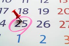 Date of calendar with red circle. Date in the calendar circled with a marker with a button Royalty Free Stock Images