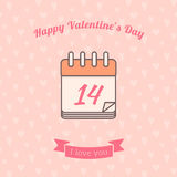 14 date calendar St. Valentine day holiday. Royalty Free Stock Images
