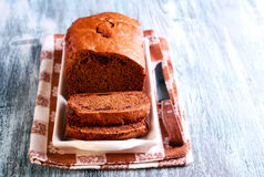 Date and chocolate cake loaf Royalty Free Stock Photography