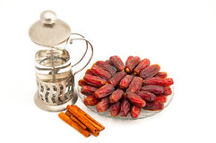 Date and cinnamon  Royalty Free Stock Photography