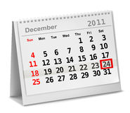 A date circled on a calendar with red ink. Vector illustration Stock Images