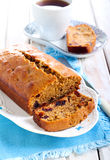 Date and coffee cake. Sliced on plate Stock Photography