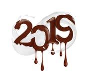 Date de la nouvelle année 2019 ans dessinée par le chocolat liquide illustration de vecteur