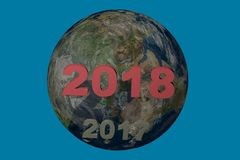 Date 2018 de nouvelle année au-dessus de 2017 l'illustration 3d rendent Images libres de droits