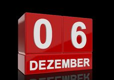 The date of 6 Dezember in white numbers and letters on red, glossy blocks. Standing and mirrored isolated in front of a black background vector illustration
