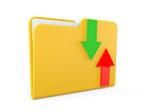 Date downloading Concept. Folder with arrows Royalty Free Stock Photo