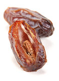Date dried fruit. Big date dried fruit closeup on white background royalty free stock image