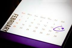 Date du 14 février sur le calendrier Photographie stock libre de droits