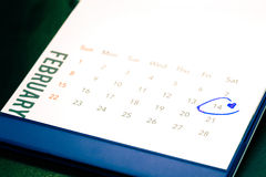 Date du 14 février sur le calendrier Images stock