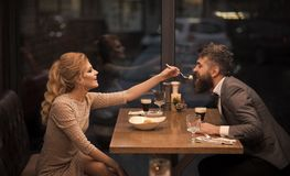 Date of family couple in romantic relations, love. Couple in love at the restaurant. Valentines day with woman and. Date of family couple in romantic relations royalty free stock image