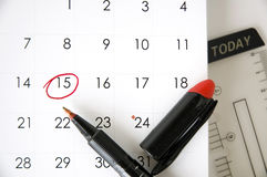 Date fifteen today. Pen point to marked on date fifteen Royalty Free Stock Image