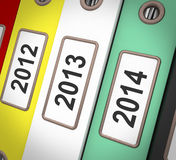 Date Files Shows New Year And Organizing Business. Date Files Showing New Year And Organizing Business Stock Image