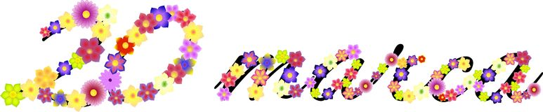 Date of first day of spring made of flowers. 20.03.2014 Royalty Free Stock Photos