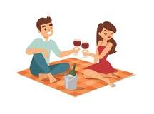 Date flirting boy and girl vector illustration. Stock Photo