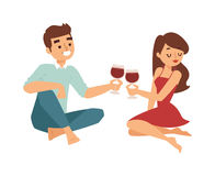 Date flirting boy and girl vector illustration. Stock Photography