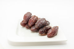 Date fruits in white plate Stock Photography