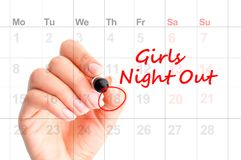 A date for Girls Night Out – reminder on agenda Stock Photography