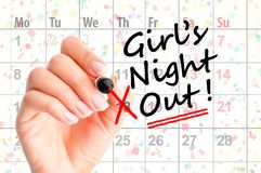 A date for Girls Night Out – reminder on agenda. A date for Girls Night Out – reminder on personal agenda Royalty Free Stock Photography