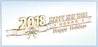 Date 2018 Happy New Year on a light background. With  ribbon with bow in 3d format Royalty Free Stock Photography